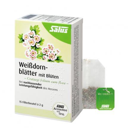 Weißdornblätter mit Blüten Tee Salus