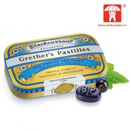 Grethers Pastilles Blackcurrant Silber Dose