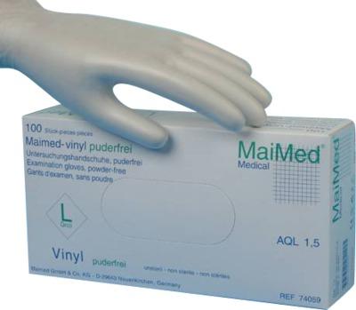 MaiMed vinyl Puderfreie Untersuchungshandschuhe unsteril Größe S